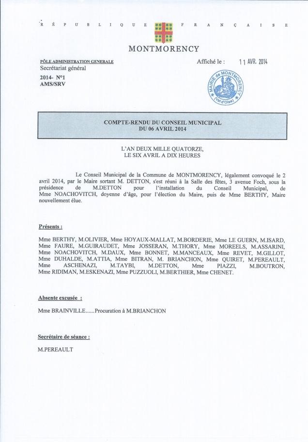 Conseil Municipale Avril 2014