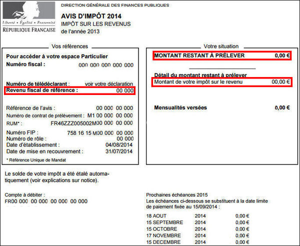 Avis d imposition 2015 les dates de r ception le haut parleur - Plafond revenu fiscal de reference 2014 ...