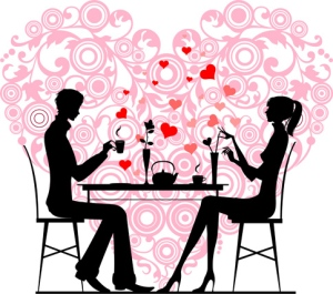 Silhouette of a couple sitting and talking at cafe, vector images scale to any size